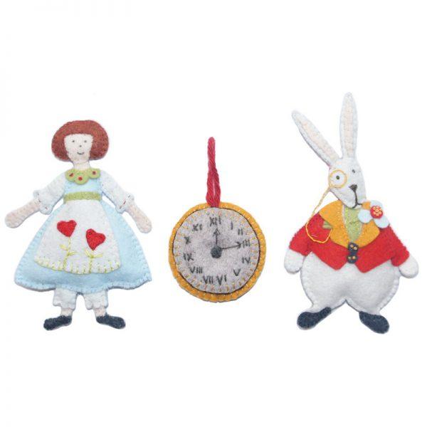 Petits personnages en feutrine - Alice et le Lapin Blanc