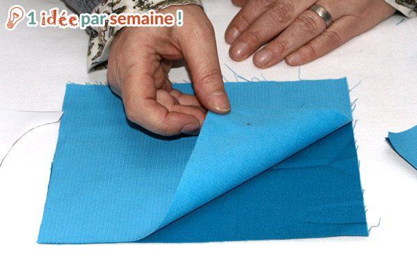 Superposez le tissus et la doublure