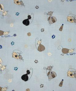 chats multi sur fond bleu