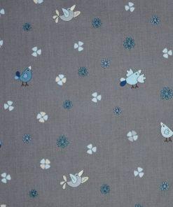 Coton oiseaux bleu sur fond gris