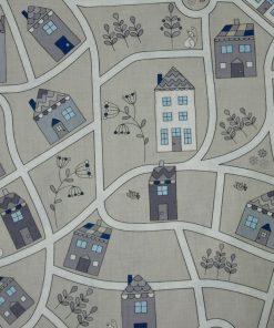 Coton village blanc, gris et bleu sur fond gris