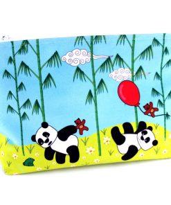 GT-1621 - Grande Trousse Pandas Bleue (une fois cousue, face avant)