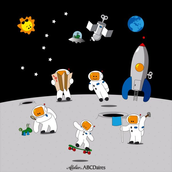 PP-1680 Petit Panneau Astronautes sur la Lune