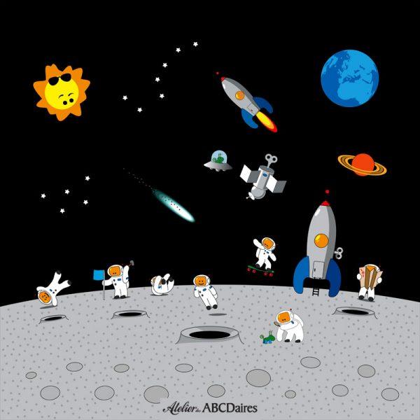 GP-1684 - Grand Panneau Astronautes sur la Lune