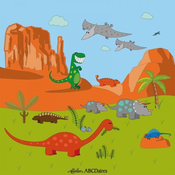GP-1733 Grand Panneau en Velours Dinosaures dans un Canyon