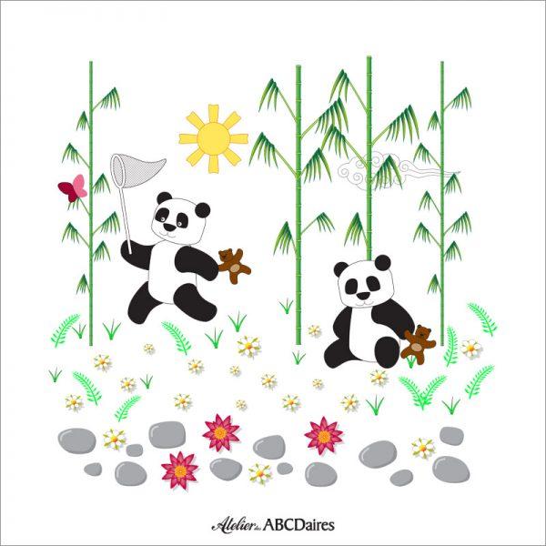PP-1643 Petit Panneau Pandas Blanc