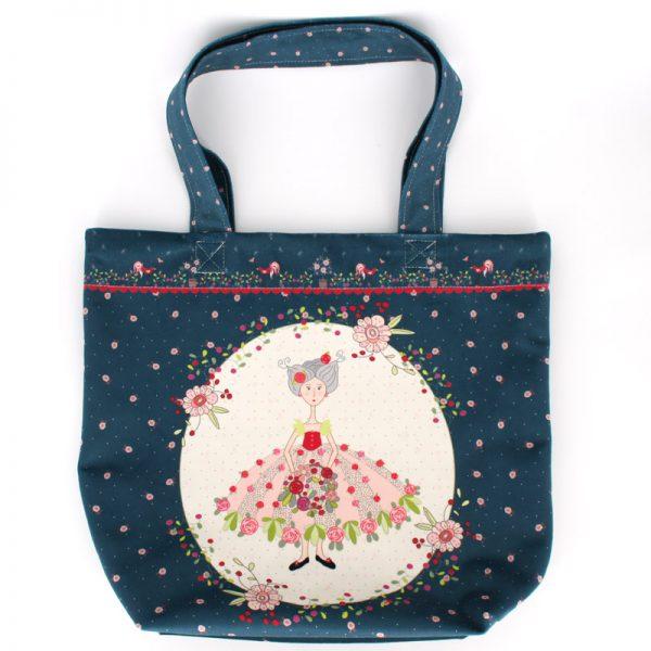 TB-1713 - Tote-Bag Jeune Fille aux Fleurs Bleu (avant)