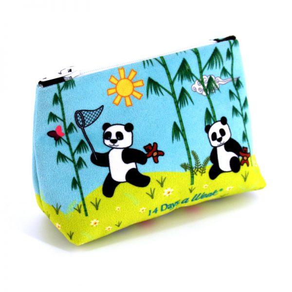 PM-1626 - Porte-Monnaie Pandas Bleu (une fois cousu, face arrière)