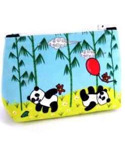 PM-1626 - Porte-Monnaie Pandas Bleu (une fois cousu, face avant)
