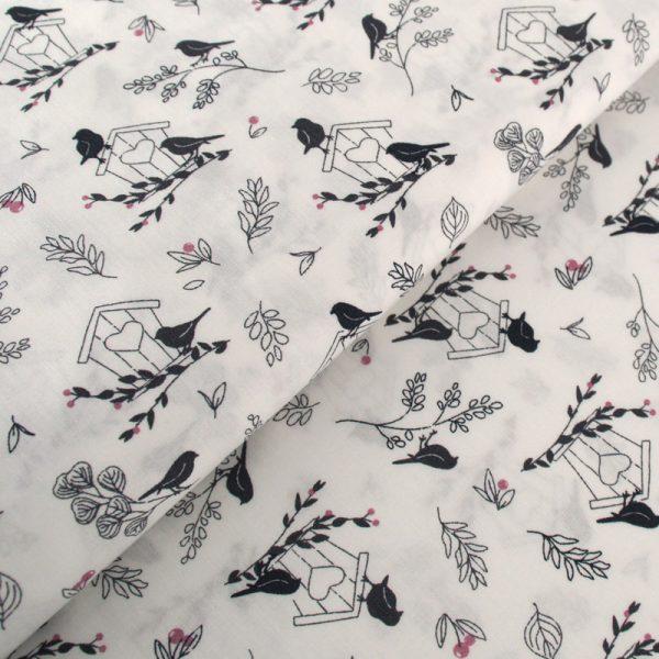 Popeline de Coton Oiseaux et Branchages
