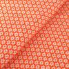Popeline de Coton Fleurs Blanches sur Fond Orange