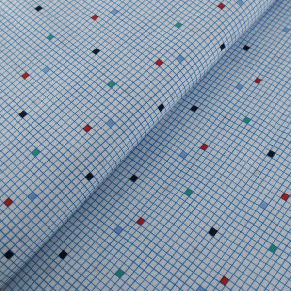 Popeline 100% Coton Carreaux et Lignes Bleues sur Fond Blanc