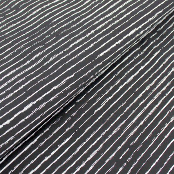Popeline 100% Coton Graphique Lignes Blanches sur Fond Noir