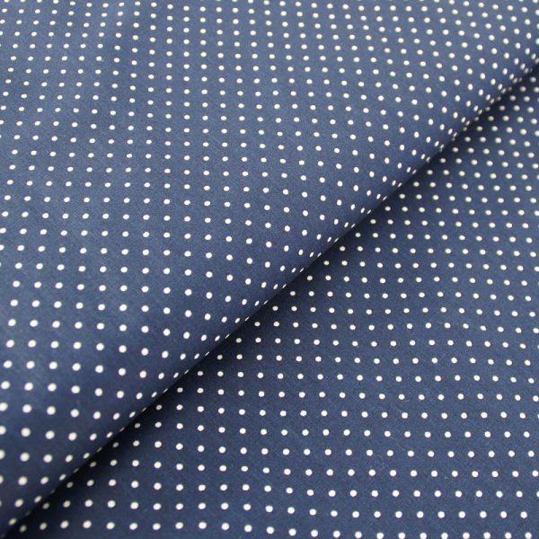 Popeline 100% Coton Petits Pois Blancs sur Fond Bleu