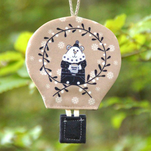 Montgolfière déco de Noël ours noir, blanc et beige