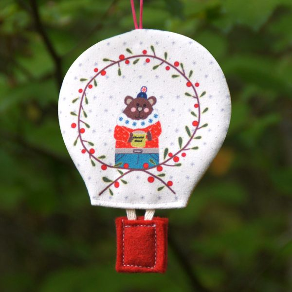 Montgolfière déco de Noël ours classique
