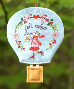 Montgolfière déco de Noël souris joli cadeau scandinave